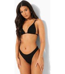 mix & match gekreukelde bikini top met strik, black