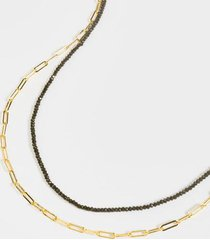 britte layered chain beaded necklace - black