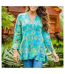 rayon batik tunic, 'daisy paradise' (indonesia)