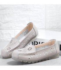 in pelle scava fuori le scarpe piatte casual per le donne