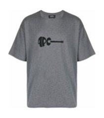 a.p.c. camiseta decote careca com estampa de logo - cinza