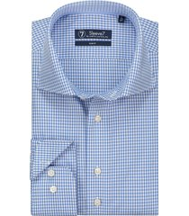 sleeve7 heren overhemd fijne ruit poplin slim fit blauw