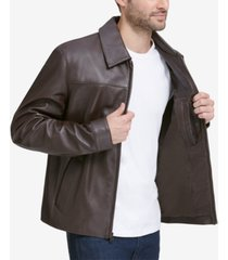 cole haan men's full-zip leather bomber jacket
