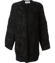 gianfranco ferré pre-owned swirl appliqué coat - black