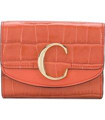 chloé chloé c small tri-fold wallet - orange