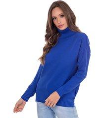 blusa myah lolla azul bic gola alta em tricã´ - azul - feminino - dafiti