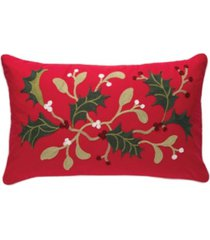 c & f home holly branch chain stitch pillow