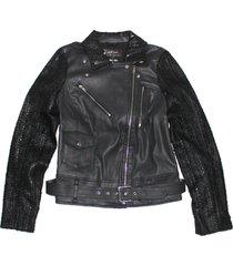 7 for all mankind women's malhia kent pieced moto jacket, black