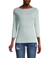 three dots women's cropped-sleeve knit t-shirt - gold - size xs