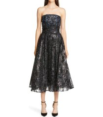 women's pamella roland embellished strapless fit & flare midi dress