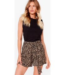 womens paws for thought belted leopard shorts - brown