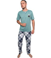pijama serra e mar modas masculino calça e manga curta verde claro