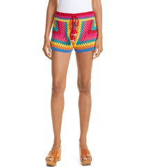 women's farm rio stripe crochet shorts, size large - red