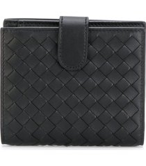bottega veneta nero intrecciato nappa mini wallet - black