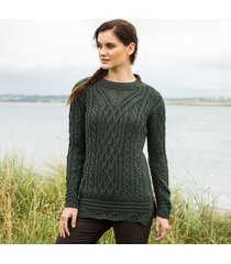 the lismore army green aran tunic large