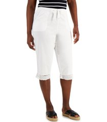 karen scott petite cotton crochet-hem capri pants, created for macy's