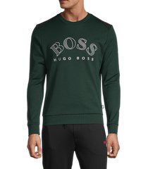 boss hugo boss men's salbo logo sweatshirt - green - size xl