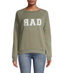 south parade women's raglan sleeve graphic sweatshirt - green - size s