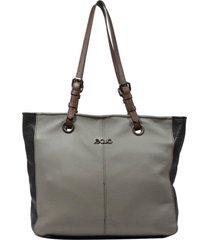 bolsa em couro recuo fashion bag shopper cinza