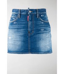 dsquared2 faded distressed denim skirt