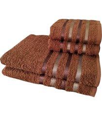 jogo 4 toalhas 2 banho 2 rosto - onix marrom