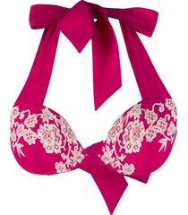 carine gilson push-up lace bikini top - pink