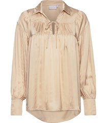 shirt w. gatherings and collar blouse lange mouwen wit coster copenhagen