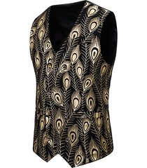 gilding peacock feathers double breasted casual vest