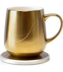 ohom kopi monogram golden mug & warmer set, size one size - metallic