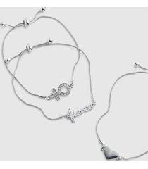 lane bryant women's 3-row heart & boss adjustable bracelet set onesz silver