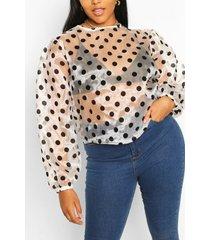 plus blouse van organza met stippen, wit