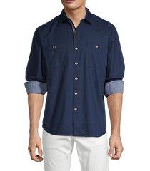 tommy bahama men's beach fire button-down shirt - deep ocean - size xs
