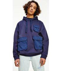 tommy hilfiger men's organic cotton multi pocket hoodie twilight navy - xxl
