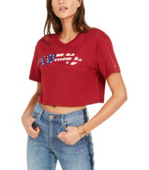 tommy jeans logo cropped cotton t-shirt