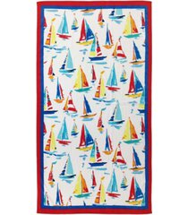 martha stewart collection painterly ships velour beach towel, created for macy's bedding