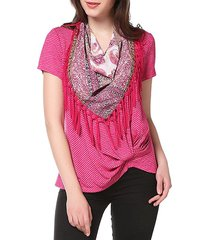 knotted on hemline t-shirt with matching scarf