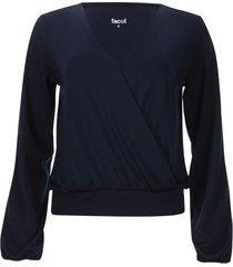 camiseta cruzada con drapeado color azul, talla 14