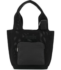 kenzo mesh tote bag with front pocket - black
