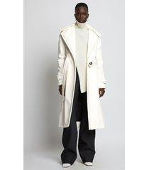 proenza schouler glossy ciré coat 00107 ecru/white 2