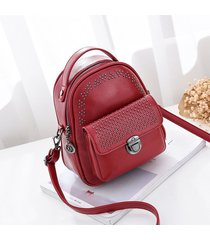 mochila de mujer/ bolso de cuero bolsos escolares-rojo