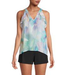 parker women's conroy pastel-print silk-blend top - pastel swirl - size xxs