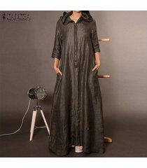 zanzea mujer de manga larga sudaderas con capucha del vestido largo maxi camisa de vestir casual de cuerpo entero llano -marrón