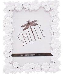porta retrato minas de presentes flores 1 foto 13x18cm branco
