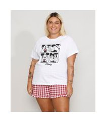 pijama feminino plus size mickey com estampa xadrez vichy e babado manga curta branco