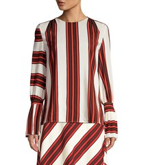 tory burch women's stripe flare-sleeve silk blouse - maverick - size 2