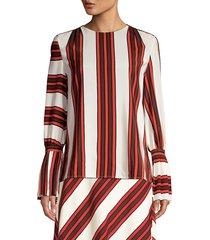 tory burch women's stripe flare-sleeve silk blouse - maverick - size 4