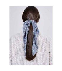 scrunchie floral azul com nó longo