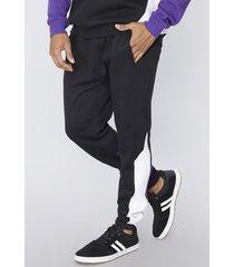 pantalon de buzo bloques tricolor negro corona