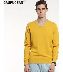 suéteres manga larga gaupucean para hombre-naranja