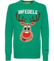 mc2 saint barth man green sweater infedele print